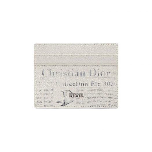 Dior x Daniel Arsham Card Holder Newspaper Print Grained Calfskin White