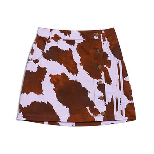 adidas Ivy Park Denim Cow-Print Skirt AOP Cow Hide/Purple Glow