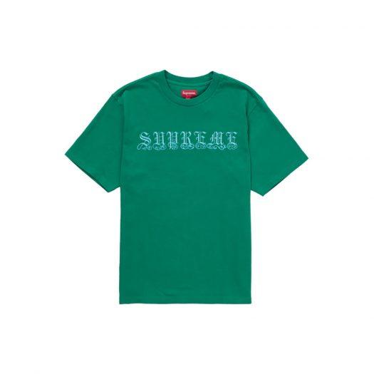 Supreme Old English Rhinestone S/S Top Green