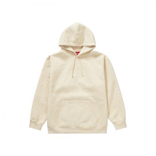 Supreme Embossed Logos Hooded Sweatshirt Natural