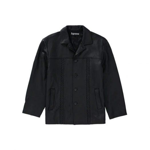Supreme Braided Leather Overcoat Black