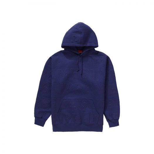 Supreme Embossed Logos Hooded Sweatshirt Washed Navy
