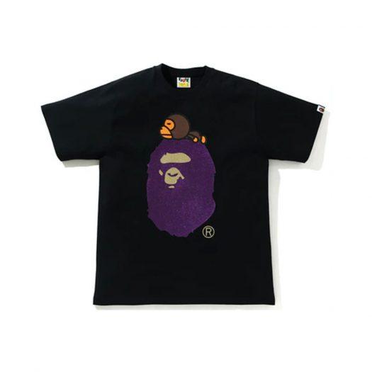 Bape Glitter Milo On Big Ape Tee Black/purple