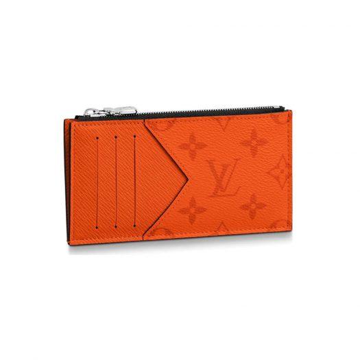 Louis Vuitton Coin Card Holder Monogram Eclipse Volcano Orange