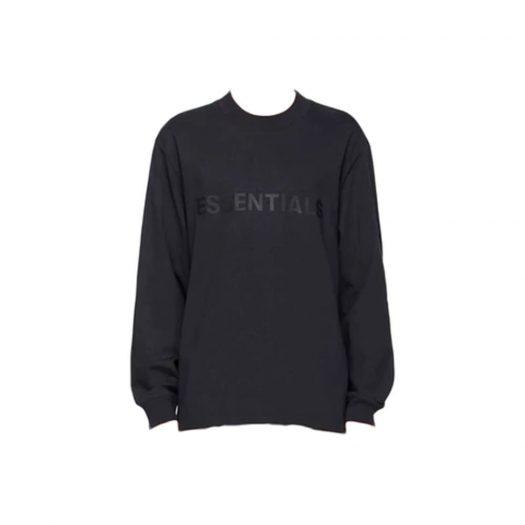Fear of God Essentials x SSENSE Boxy Long Sleeve T-Shirt Applique Logo Dark Navy