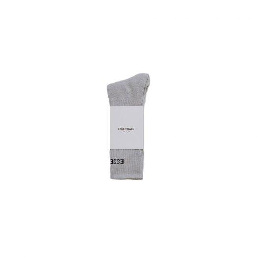 Fear of God Essentials Front Logo Crew Socks Light Grey