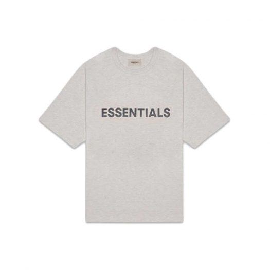 Fear of God Essentials Boxy T-Shirt Applique Logo Heather Oatmeal