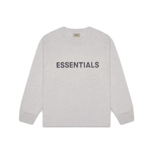 Fear of God Essentials Boxy Long Sleeve T-Shirt Applique Logo Heather Oatmeal