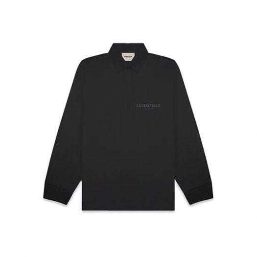 Fear Of God Essentials Long Sleeve Boxy Polo Dark Slate/stretch Limo/black