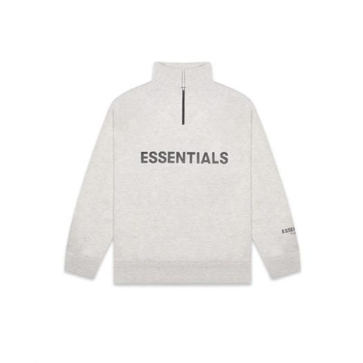 Fear of God Essentials Half Zip Pullover Sweater Oatmeal/Oatmeal Heather/Light Heather Oatmeal
