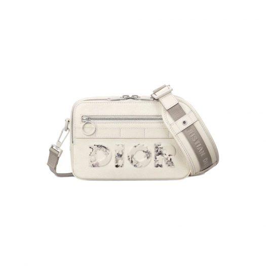 Dior x Daniel Arsham Safari Messenger Bag Calfskin White
