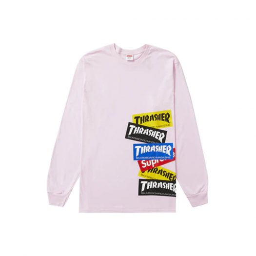 Supreme Thrasher Multi Logo L/S Tee Light Pink
