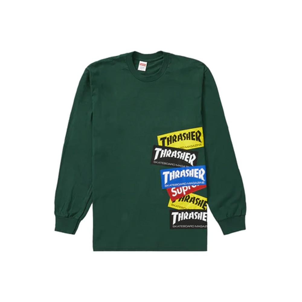 Supreme Thrasher Multi Logo L/S Tee Dark Green