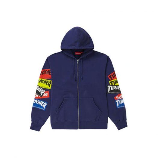 Supreme Thrasher Multi Logo Zip Up Hooded Sweatshirt Washed Navy