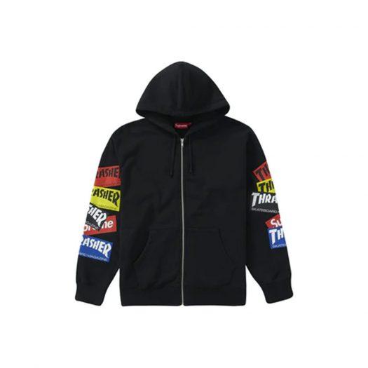 Supreme Thrasher Multi Logo Zip Up Hooded Sweatshirt Black