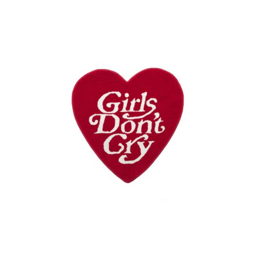 Girls Don't Cry Heart Shape Rug Red
