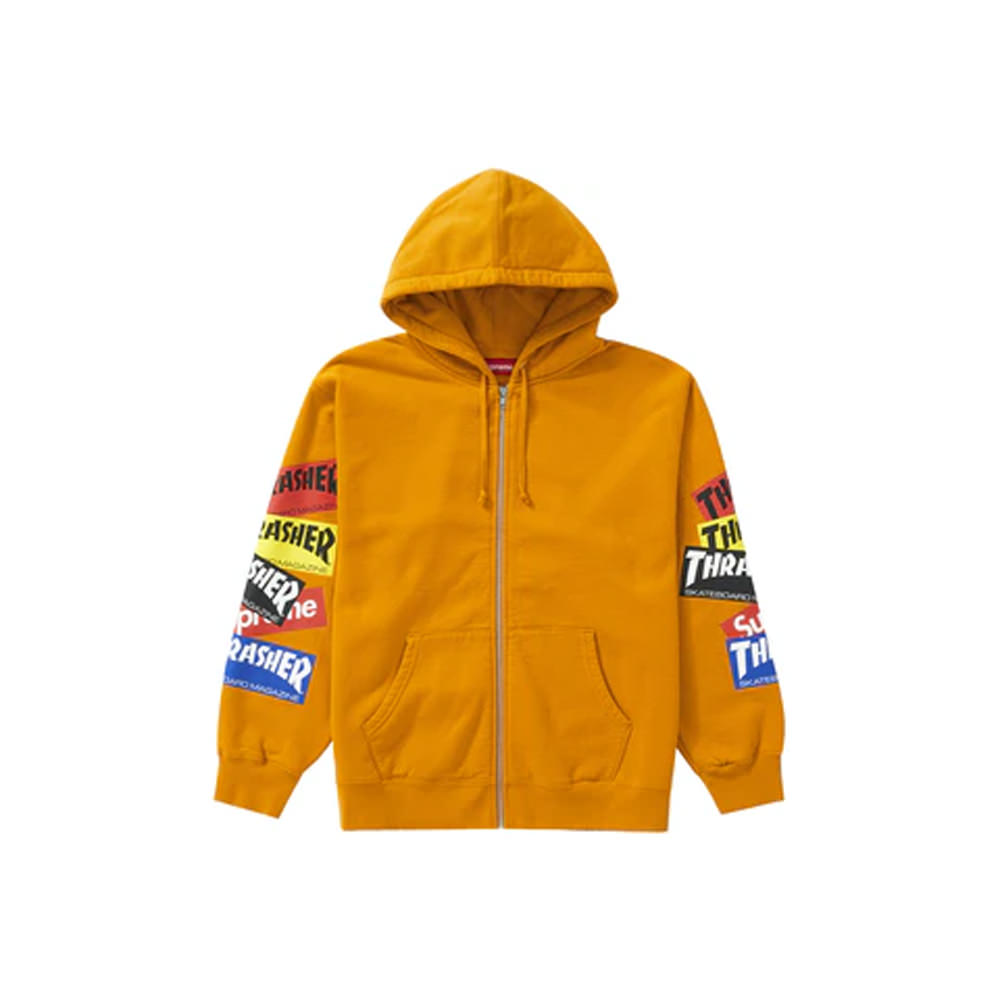 Supreme Thrasher Multi Logo Zip Up Hooded Sweatshirt Gold
