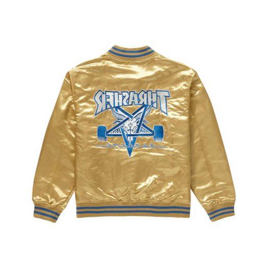 Supreme Thrasher Satin Varsity Jacket Gold