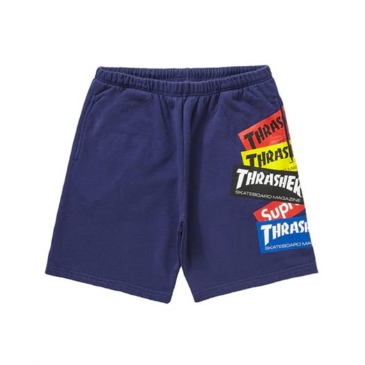 Supreme Thrasher Multi Logo Sweatshort Washed Navy