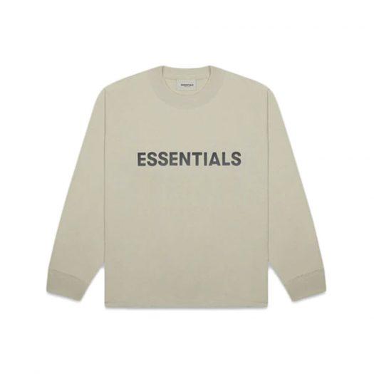 Fear of God Essentials Boxy Long Sleeve T-Shirt Applique Logo Moss
