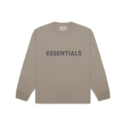 Fear of God Essentials Boxy Long Sleeve T-Shirt Applique Logo Taupe
