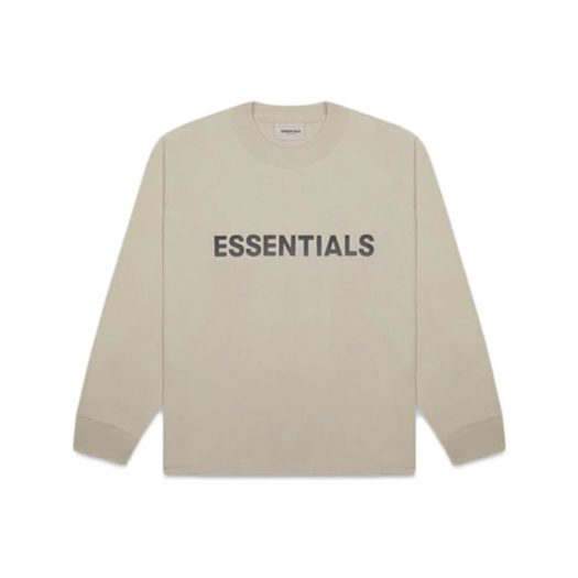Fear of God Essentials Boxy Long Sleeve T-Shirt Applique Logo Olive/Khaki